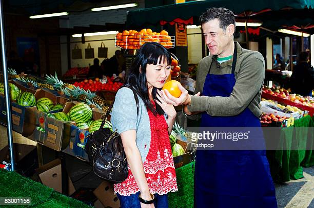Woman shopping for fresh food