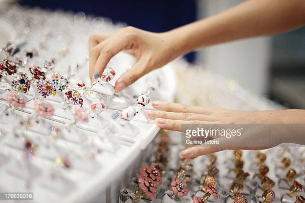 Woman shopping for rings