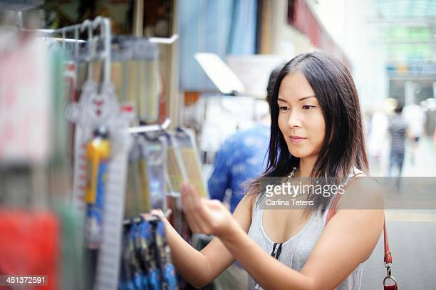 Woman shopping for souvenirs