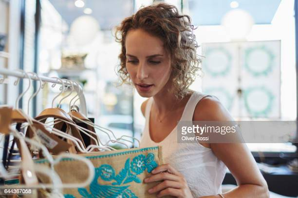 Woman shopping in a boutique