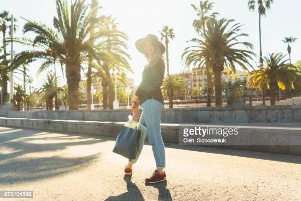 Woman shopping in Barcelona