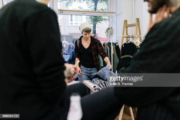 A Woman  Shopping in second hand stores