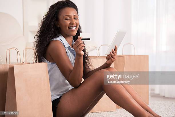Woman shopping online at home.