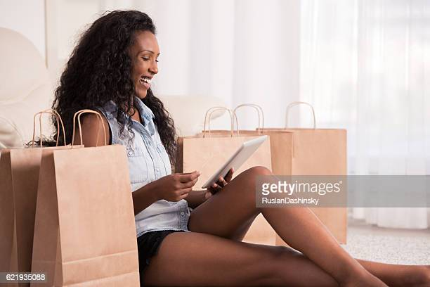 Woman shopping online.