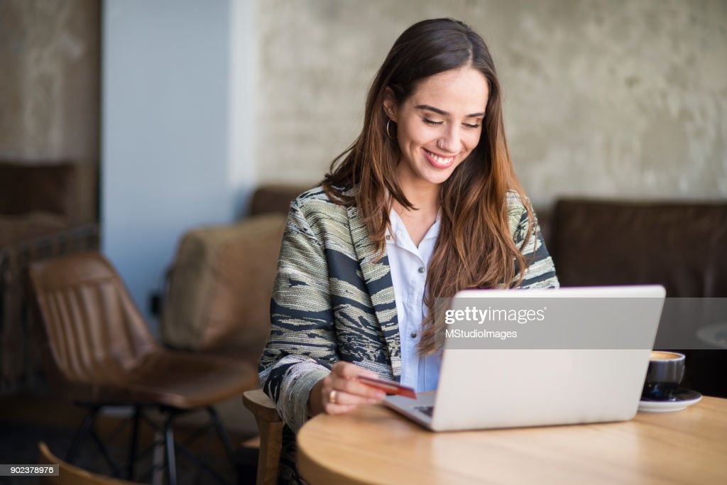 Woman shopping online. : Stock Photo