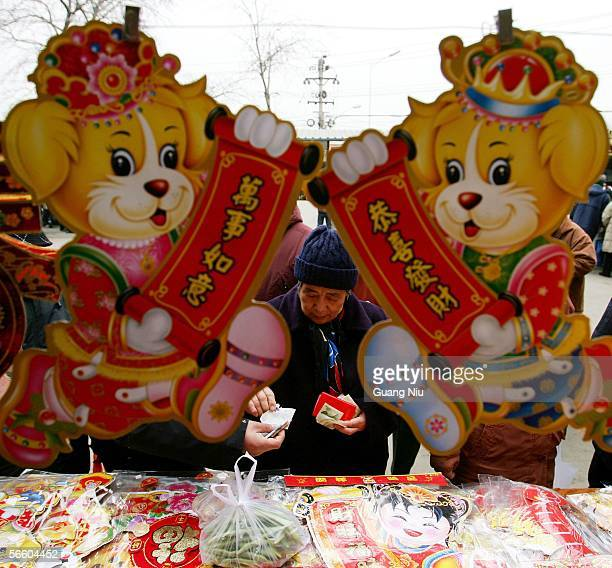 A woman shops for decorations for Chinese New Year festivities at an outdoor market on January 17 2006 in Beijing China People are preparing for...
