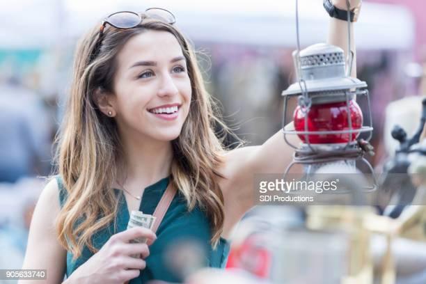 Woman shops in outdoor market