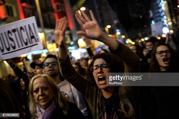 A woman shout slogans during a protest against violence against women in Madrid Spain on 17th November 2017