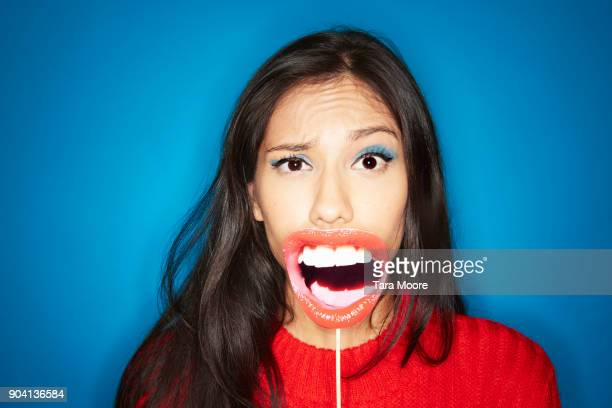 woman shouting and making a face