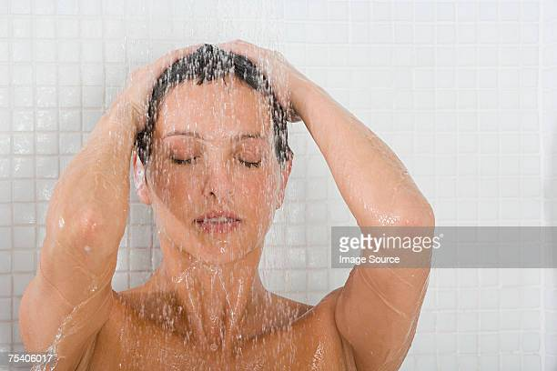 Woman showering
