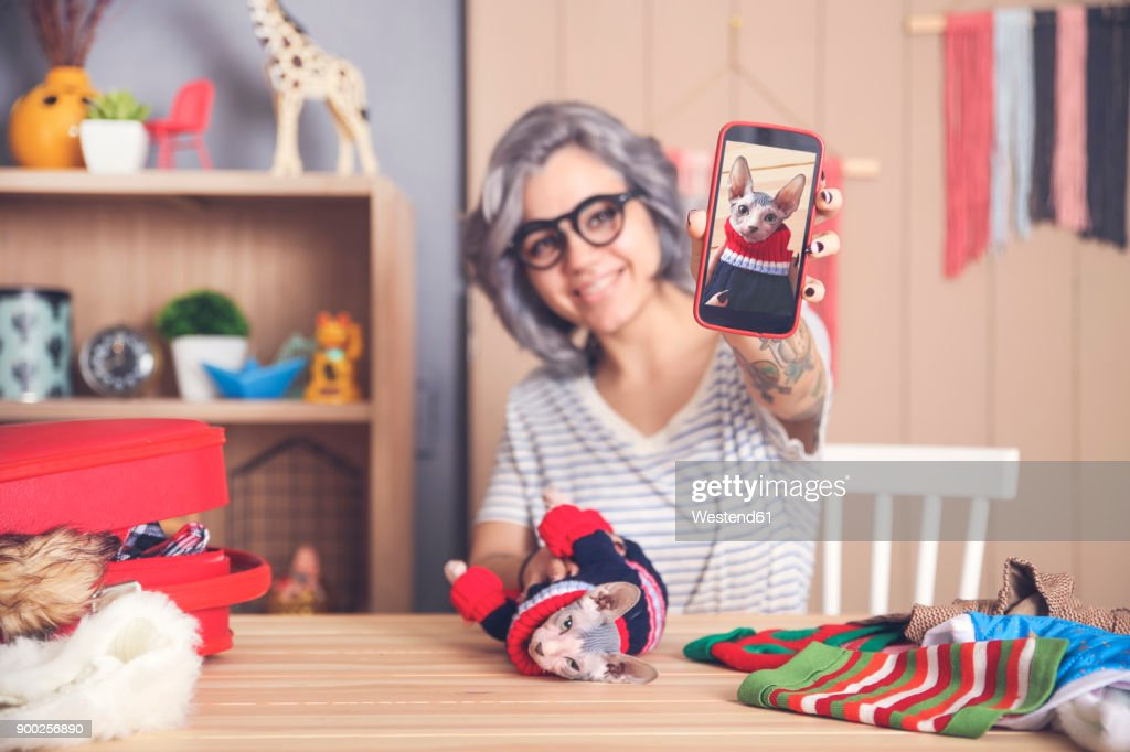 Woman showing cell phone picture of Sphynx cat wearing pullover : Stock Photo