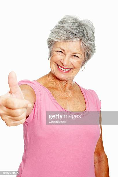Woman showing thumbs up sign
