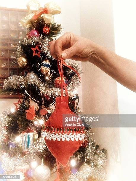 Woman shows Christmas decoration