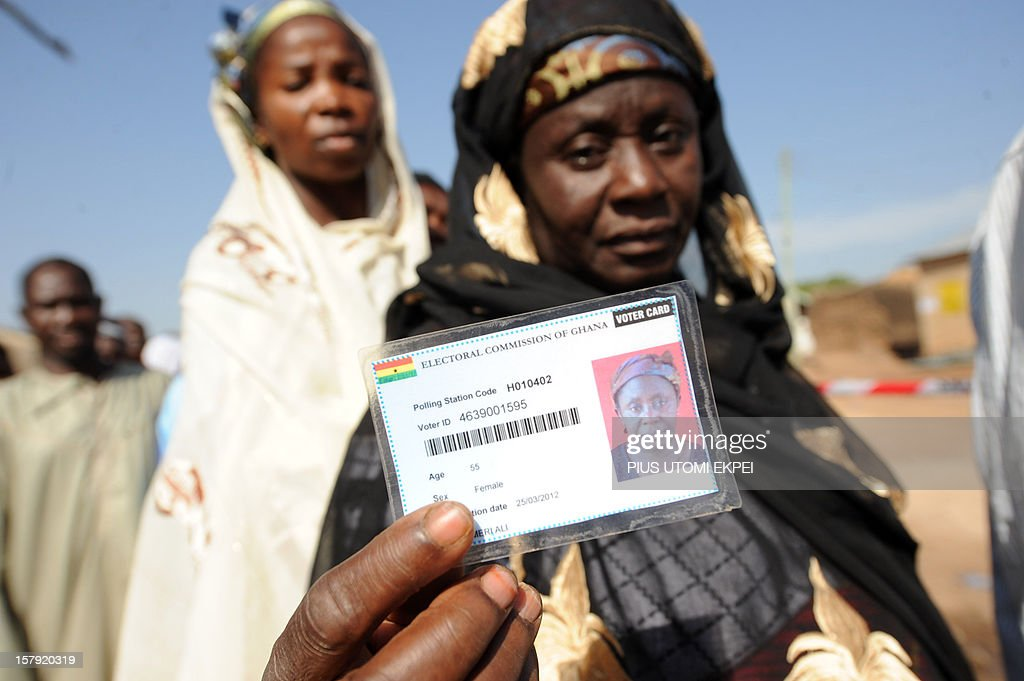 A woman shows her voter card prior to vote at Bole polling station in the northern region on December 7, 2012. Ghana voted in a high-stakes presidential election which is expected to be close, with the emerging country seeking to live up to its promise as a beacon of democracy in turbulent West Africa.