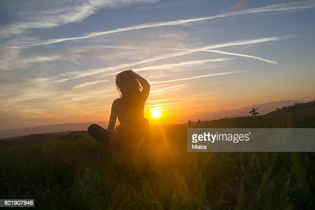 Woman Silhouette in the field