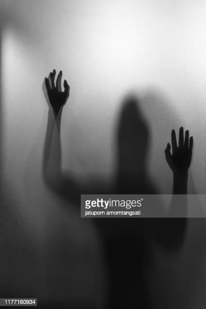 woman silhouette,unidentify shadow of woman within the bath room - aparición acontecimiento fotografías e imágenes de stock