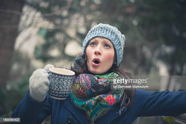 Woman Singing Outside with Mug