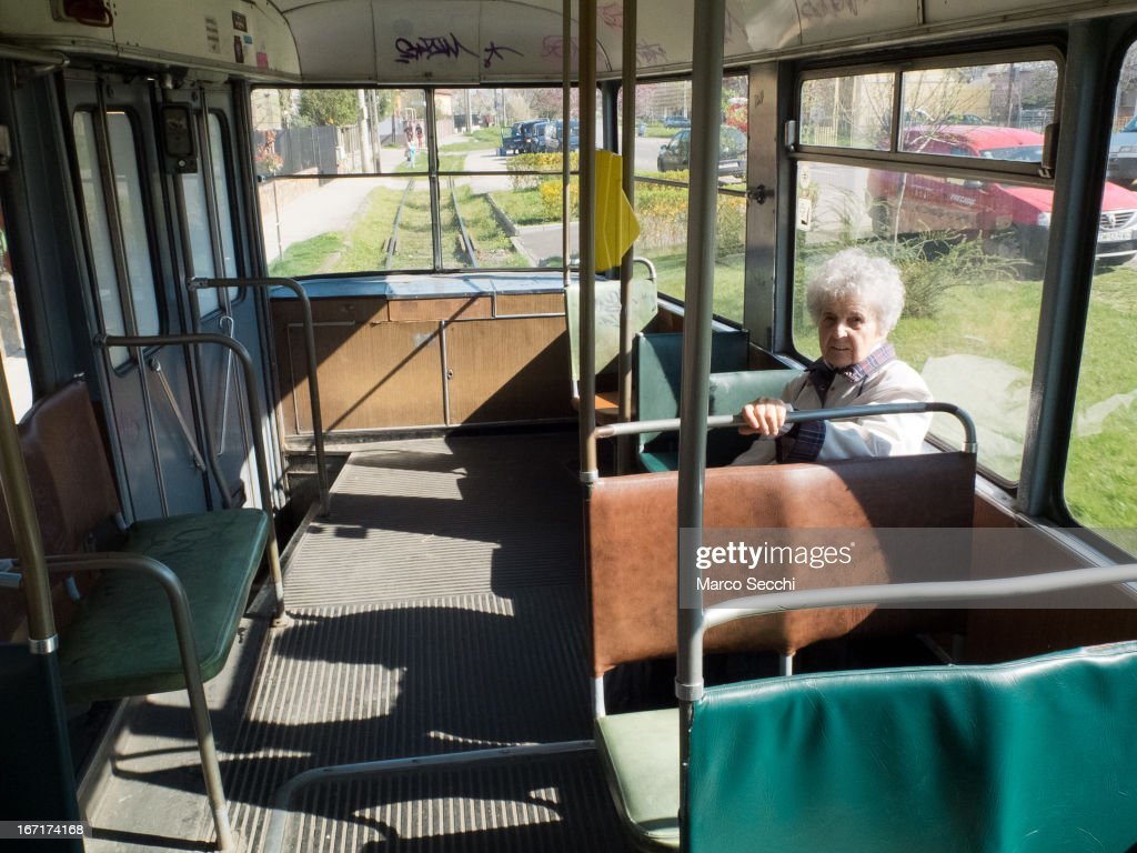 A woman sit on a tram in the direction of the outskirt of the city on April 16, 2013 in Timisoara, Romania. Romania has abandoned a target deadline of 2015 to switch to the single European currency and will now submit to the European Commission a programme on progress towards the adoption of the Euro, which for the first time will not have a target date.