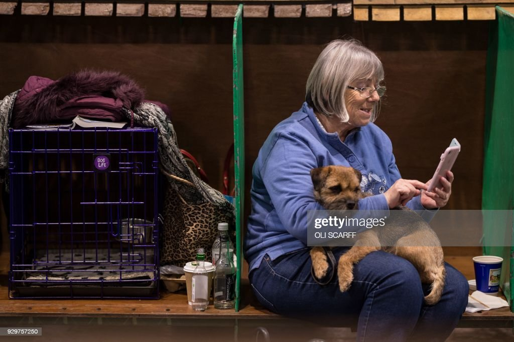 A woman sits with her Border Terrier dog on the second day of the Crufts dog show at the National Exhibition Centre in Birmingham, central England, on March 9, 2018. /
