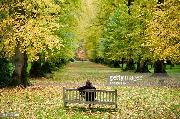 Woman Sitting Alone in Park