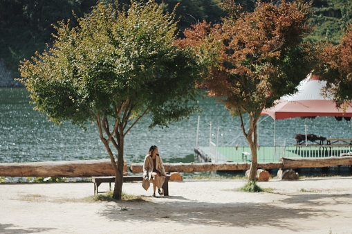 Woman Sitting Amidst Trees Against Lake - gettyimageskorea
