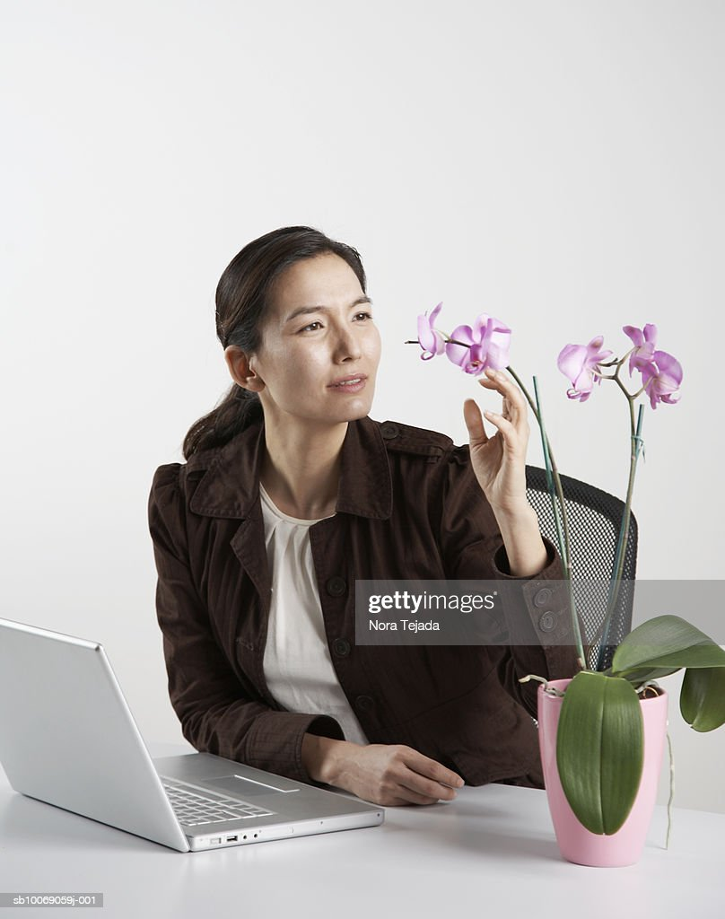 Woman sitting at desk with laptop, looking at flowers in pot : Stockfoto