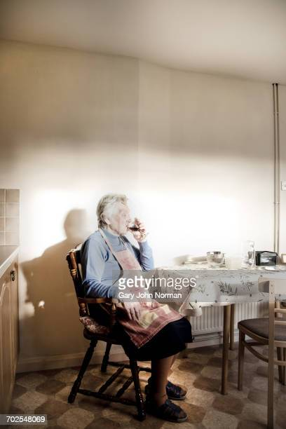 woman sitting at dining table drinking sherry - norman elder stock photos and pictures