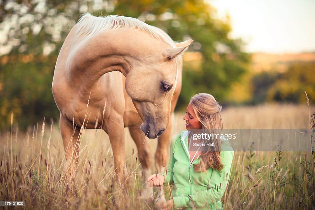 Woman Sitting Down with Horse : Stock Photo