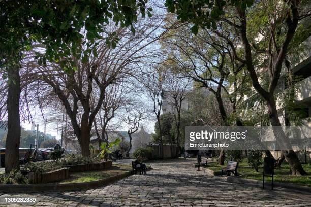 woman sitting in a public park in konak. - emreturanphoto stock pictures, royalty-free photos & images