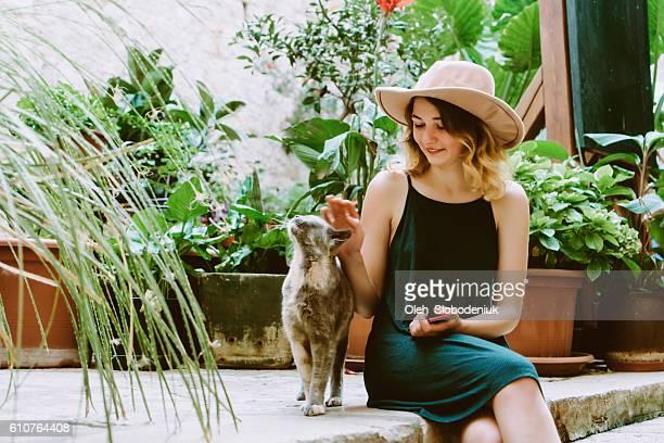 Woman sitting in patio in Dubrovnik