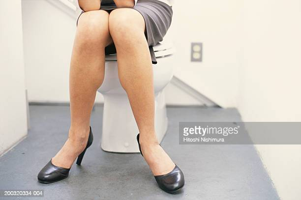 Woman sitting in toilet, low section
