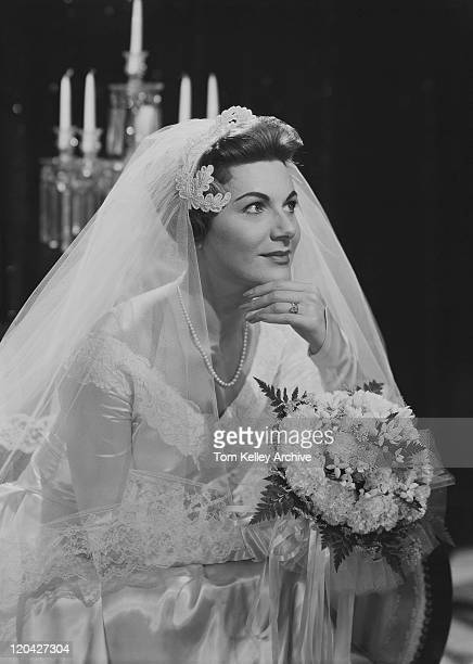 woman sitting in wedding dress, close-up - 1957 stock pictures, royalty-free photos & images