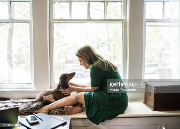 woman sitting in window with dog - love stock pictures, royalty-free photos & images