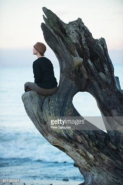 Woman sitting looking out from large driftwood tree trunk on beach