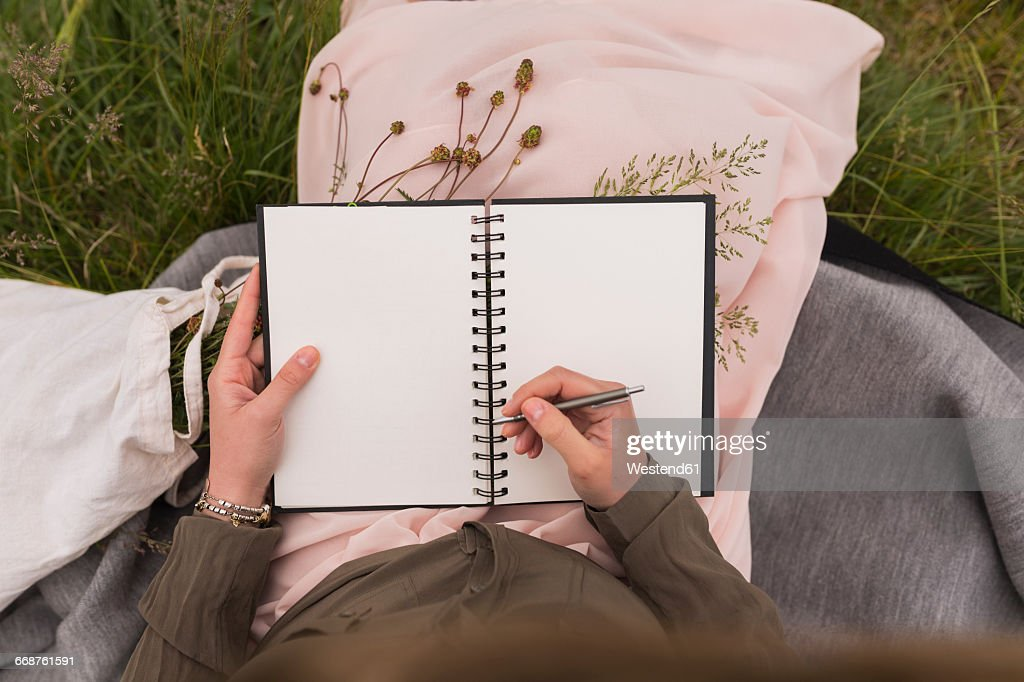 Woman sitting on a meadow writing down something in her notebook, partial view : Stockfoto