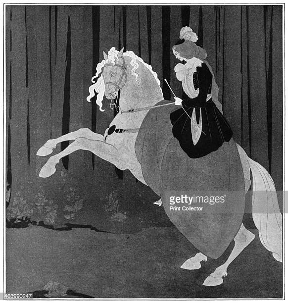 A woman sitting on a rearing horse 1898 Plate taken from The Studio magazine volume 13 no 62