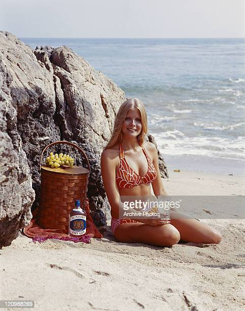 Woman sitting on beach with hamper beside smiling portrait
