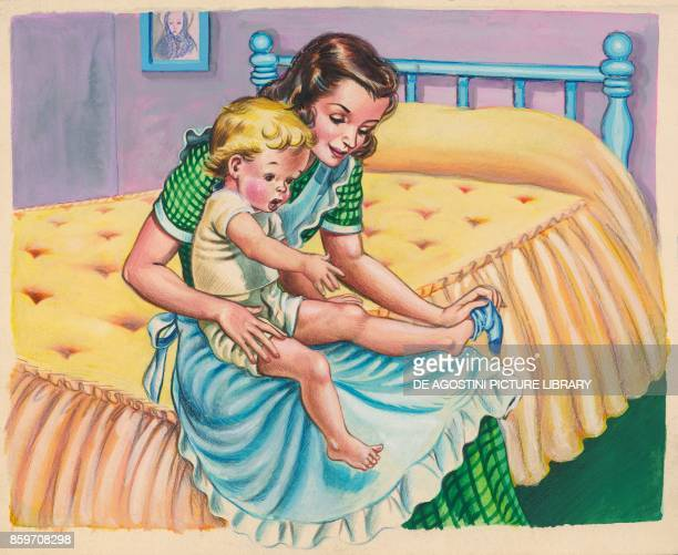 A woman sitting on bed putting socks on a boy children's illustration drawing