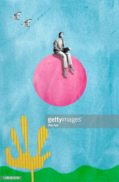woman sitting on circle in sky - trousers stock pictures, royalty-free photos & images