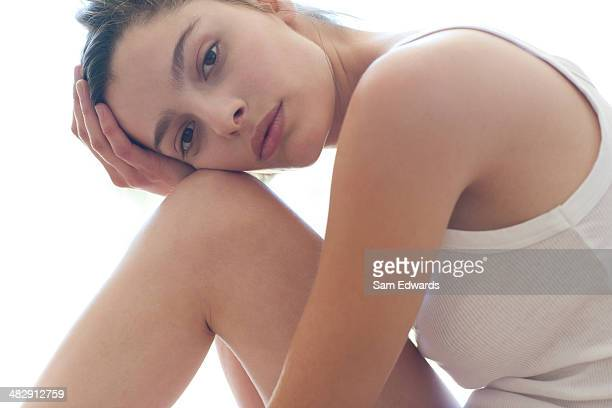 Woman sitting on floor relaxing