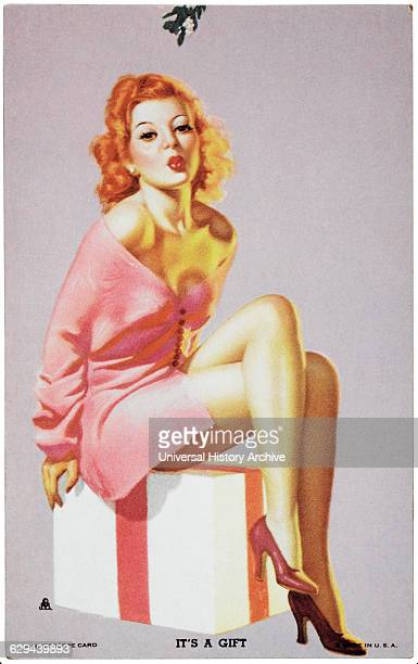 Woman Sitting on Gift Box It's a Gift Mutoscope Card 1940's