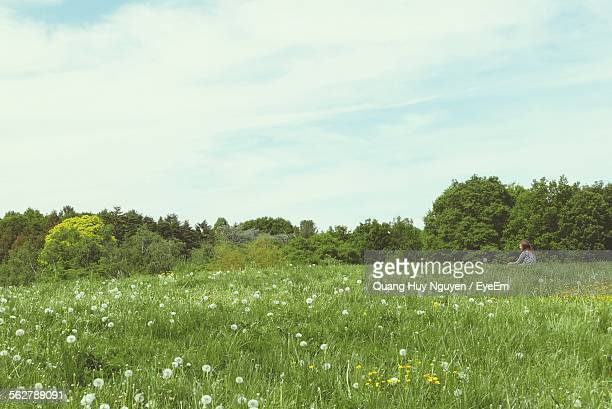 Woman Sitting On Grassy Field Against Sky