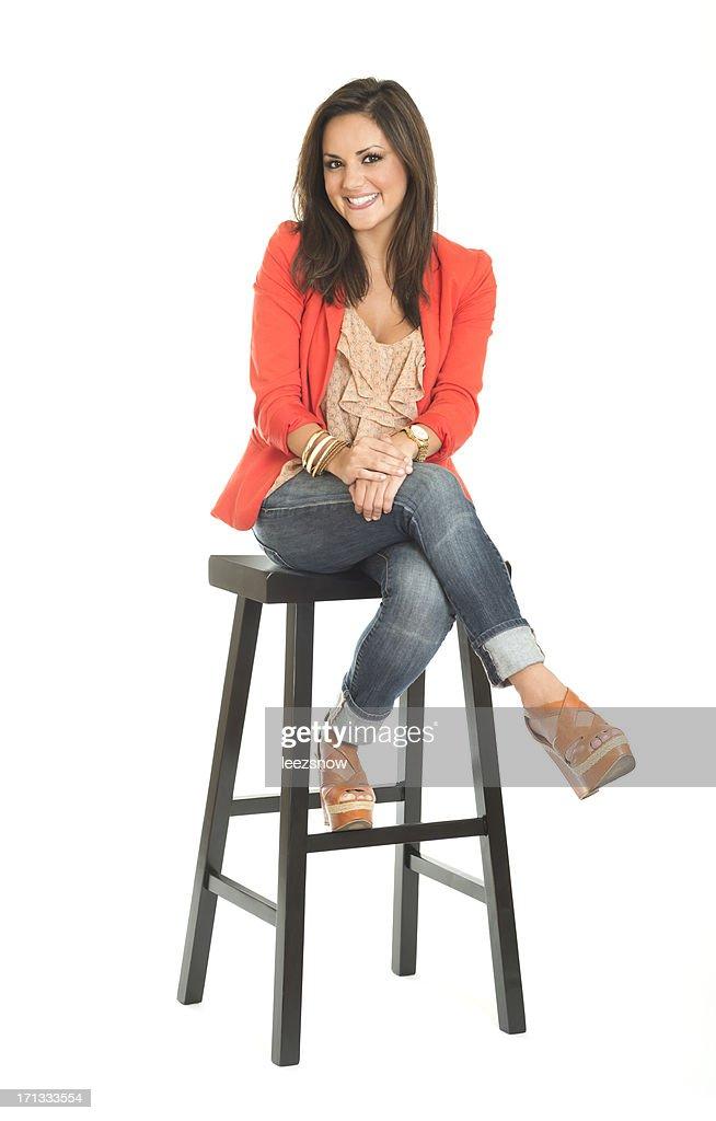 Woman Sitting on Stool : Stock Photo