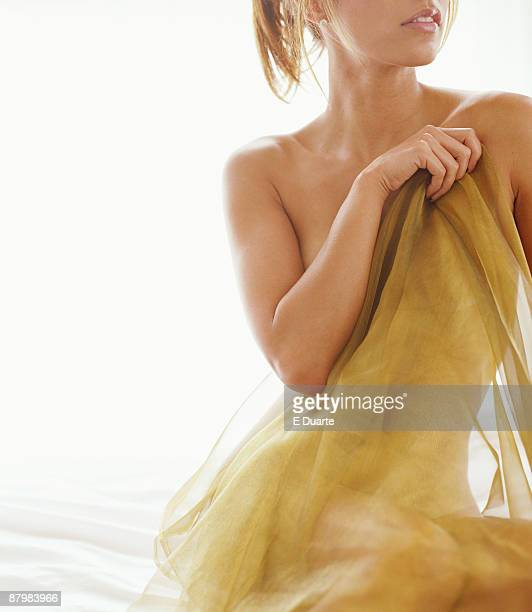 Woman sitting with fabric
