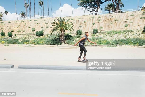 Woman skating on rollerblades