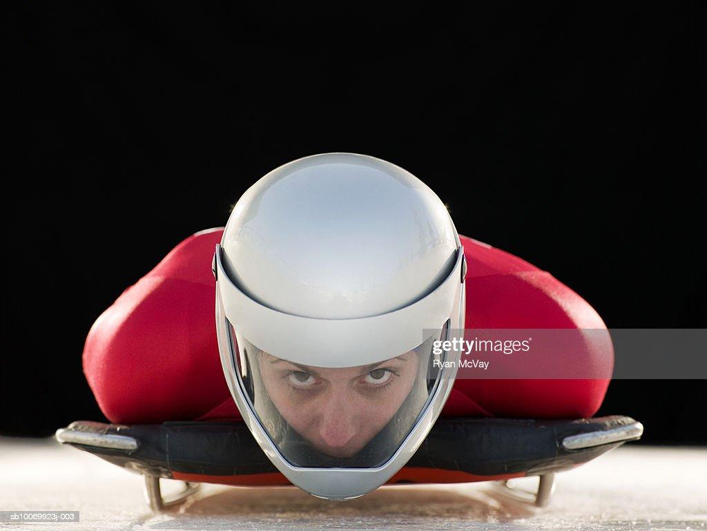 Woman skeleton athlete in crash helmet on skeleton, portrait, close-up : Stock Photo