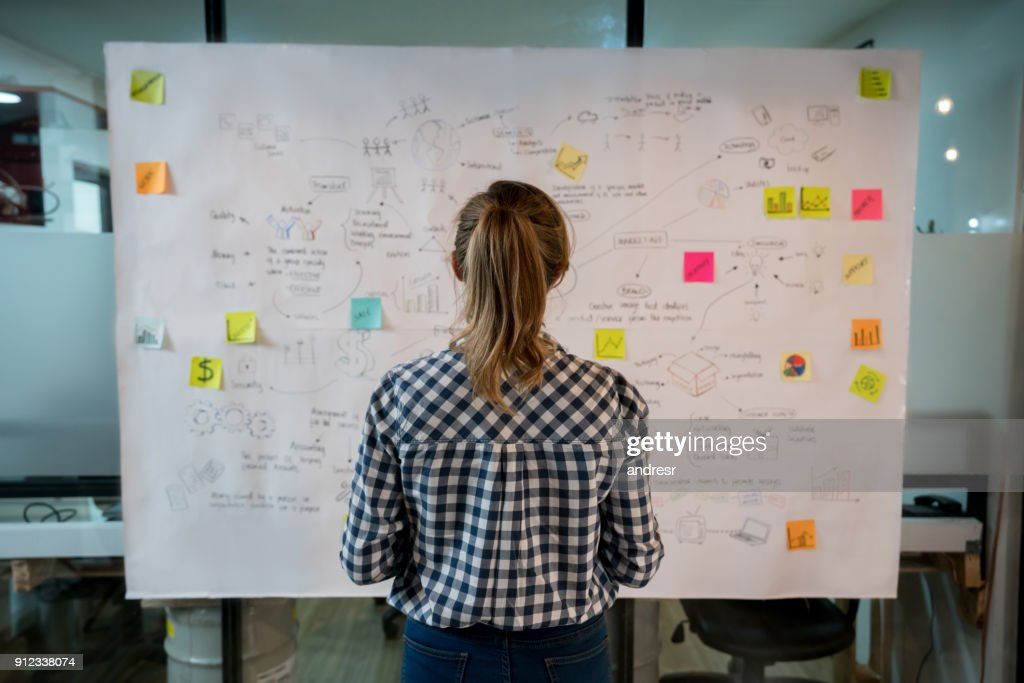 Woman sketching a business plan at a creative office : Stock Photo
