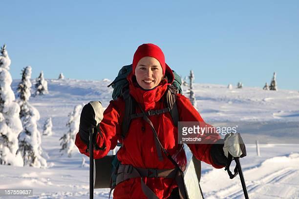 Woman ski touring