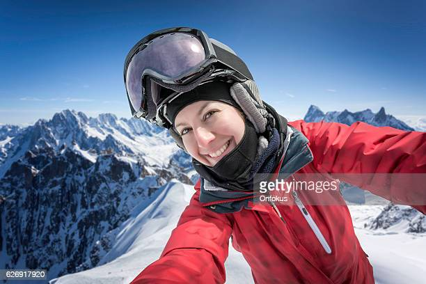 Woman Skier, Snowboarder Taking Selfie, Mont Blanc, Chamonix, Mont Blanc