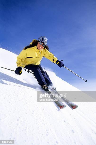 Woman skiing at Snowbird, Utah